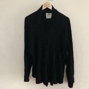FLAX black linen top size L